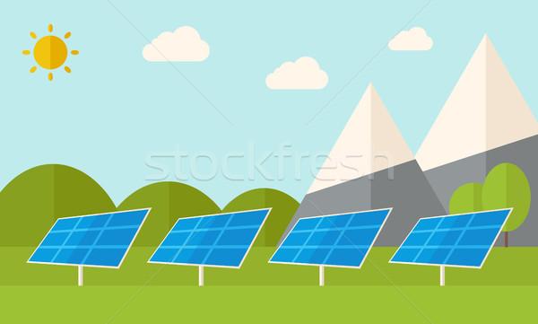 Vier zonnepanelen permanente warmte zon energie Stockfoto © RAStudio