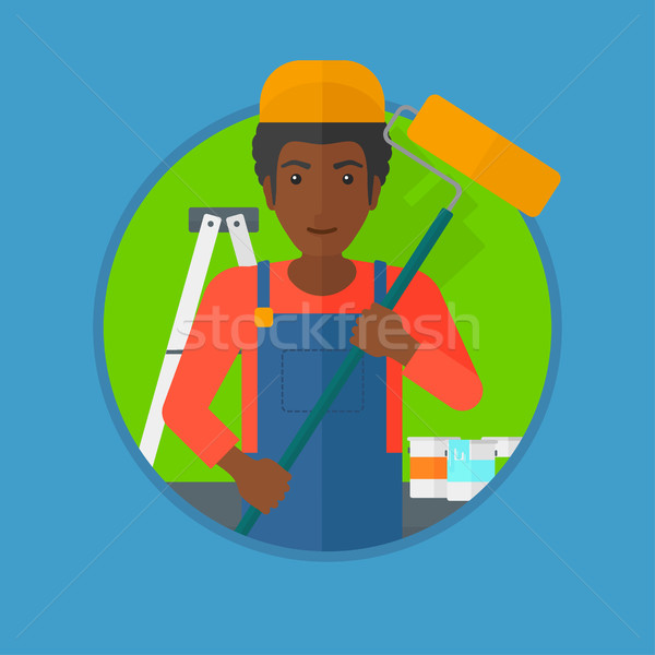 Painter with paint roller vector illustration. Stock photo © RAStudio