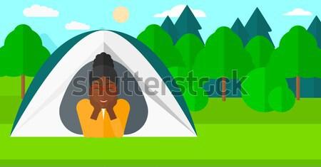 женщину кемпинга палатки из Сток-фото © RAStudio