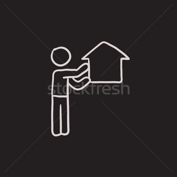 Stock photo: Real estate agent sketch icon.