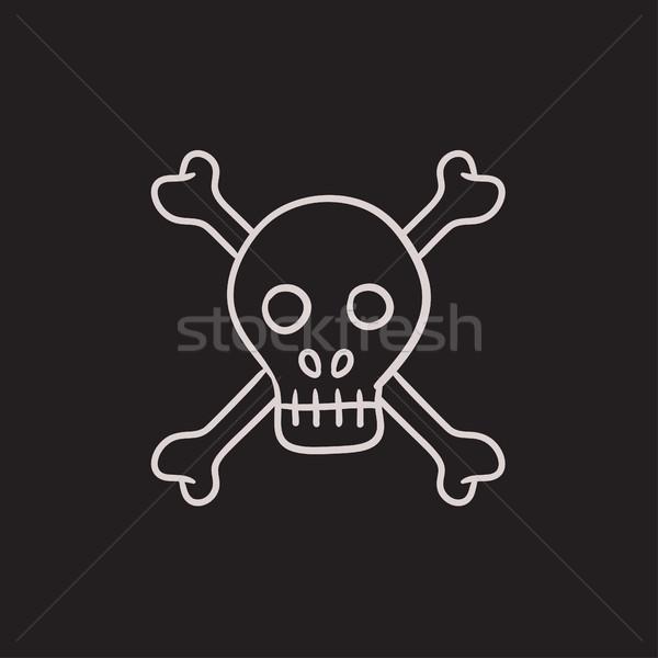 Crânio atravessar ossos esboço ícone vetor Foto stock © RAStudio