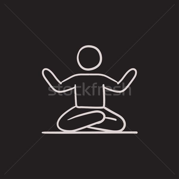 Man meditating in lotus pose sketch icon. Stock photo © RAStudio