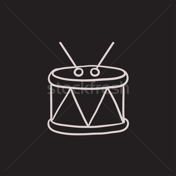 Trommel schets icon vector geïsoleerd Stockfoto © RAStudio