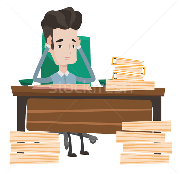 Businessman having problem with deadline. Stock photo © RAStudio