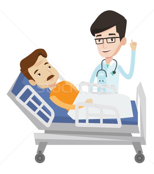 Stock foto: Arzt · Patienten · Hinweis · Finger · up · Krankenhausbett
