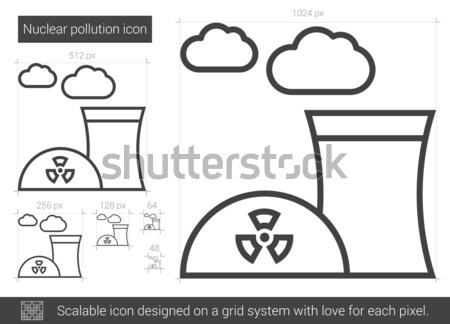 Nukleáris szennyezés vonal ikon vektor izolált Stock fotó © RAStudio