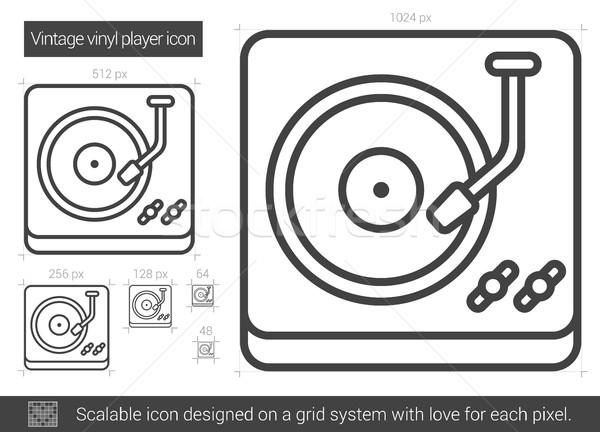 Stockfoto: Vintage · vinyl · speler · lijn · icon · vector