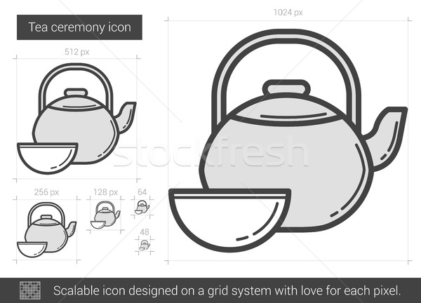 чай церемония линия икона вектора изолированный Сток-фото © RAStudio
