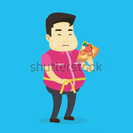 Man measuring waist vector illustration. Stock photo © RAStudio