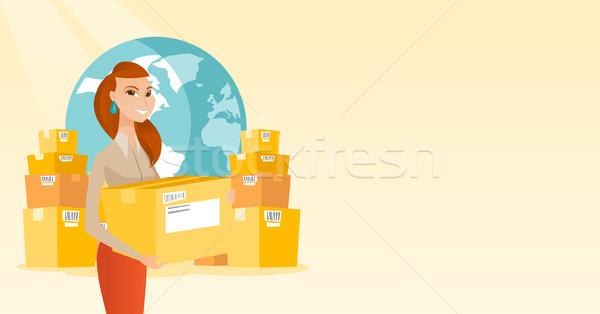 ビジネス ワーカー 国際 配信 サービス 若い女性 ストックフォト © RAStudio