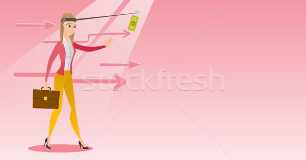 Сток-фото: деловая · женщина · деньги · удочка · кавказский · деловой · женщины