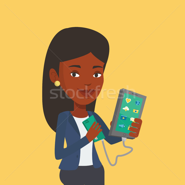 Nő okostelefon hordozható elem mosolyog mobiltelefon Stock fotó © RAStudio