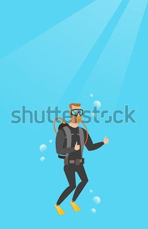 Homme plongée Scuba pouce up Photo stock © RAStudio