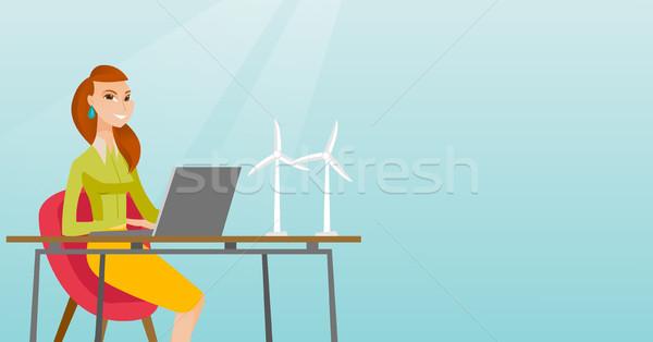 Nő dolgozik modell szélturbinák kaukázusi munkás Stock fotó © RAStudio