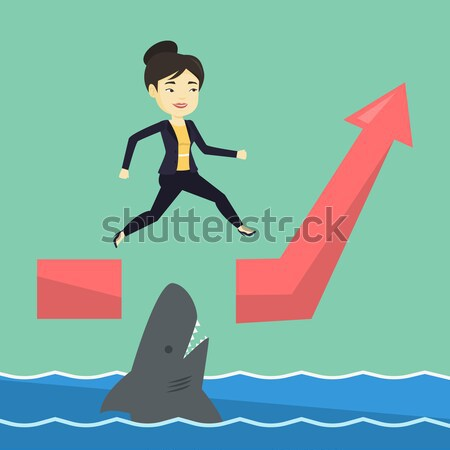 Zakenman springen oceaan haai lopen Stockfoto © RAStudio