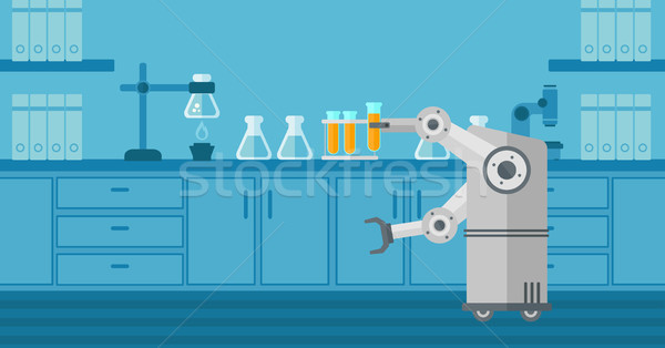 Robot working in a laboratory with a test tube. Stock photo © RAStudio