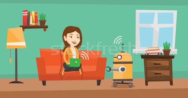 кавказский инженер программированию робота молодые женщины Сток-фото © RAStudio