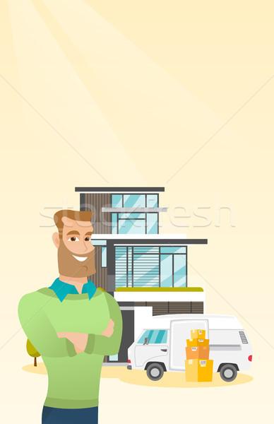 Fiatal kaukázusi férfi mozog ház derűs Stock fotó © RAStudio