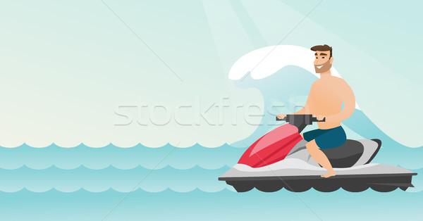 Stockfoto: Kaukasisch · man · paardrijden · water · zee