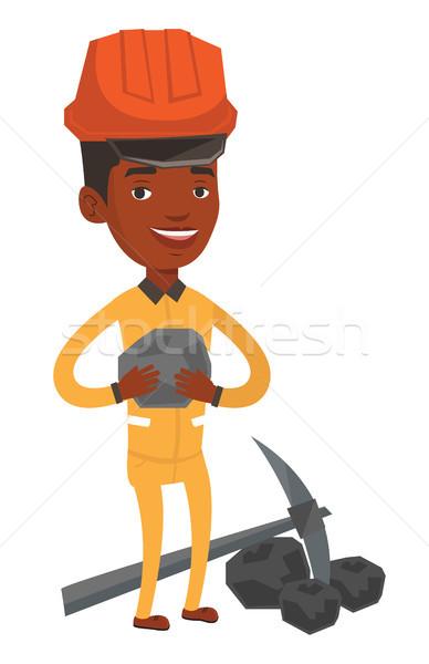 Foto stock: Carbón · manos · jóvenes · feliz