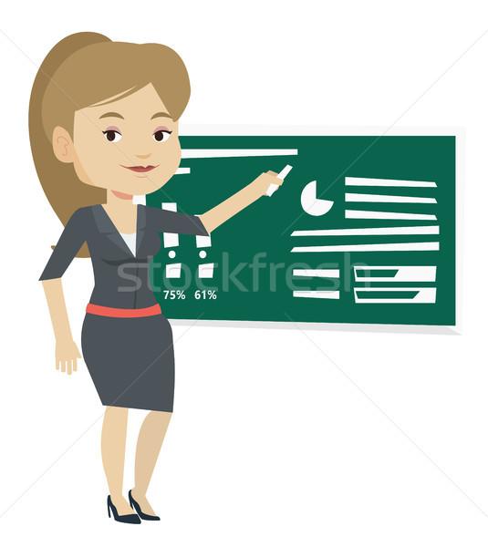 Woman writing on a chalkboard vector illustration. Stock photo © RAStudio