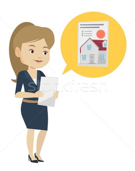 Woman looking for house vector illustration. Stock photo © RAStudio