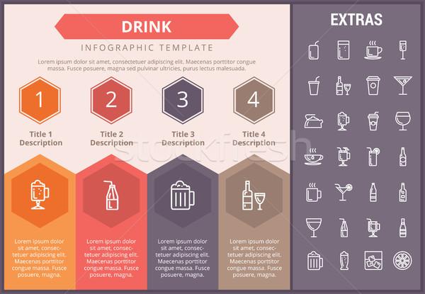 пить шаблон Элементы иконки timeline Сток-фото © RAStudio