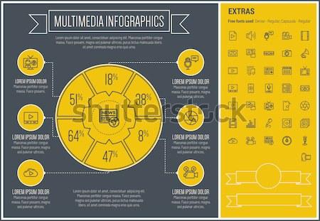 3D nyomtatás infografika sablon elemek ikonok Stock fotó © RAStudio