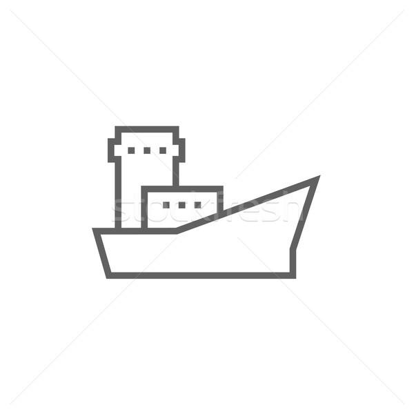 ładunku kontenerowiec line ikona internetowych Zdjęcia stock © RAStudio