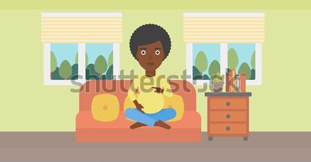 Mulher teste de gravidez encantado olhando positivo sala de estar Foto stock © RAStudio