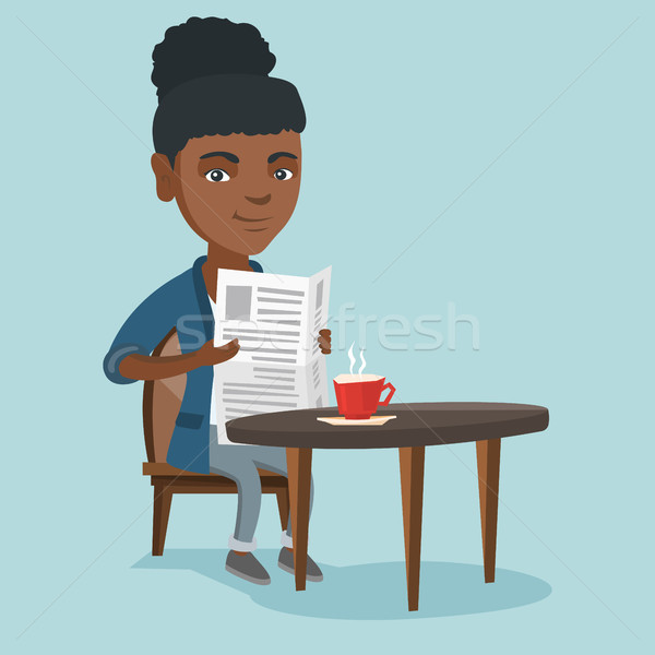 Woman reading a newspaper and drinking coffee. Stock photo © RAStudio