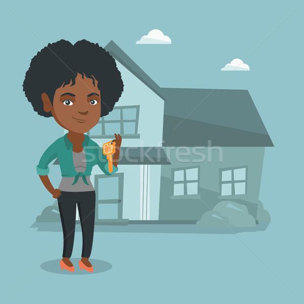 Stock fotó: Fiatal · háztulajdonos · tart · kulcs · boldog · mutat