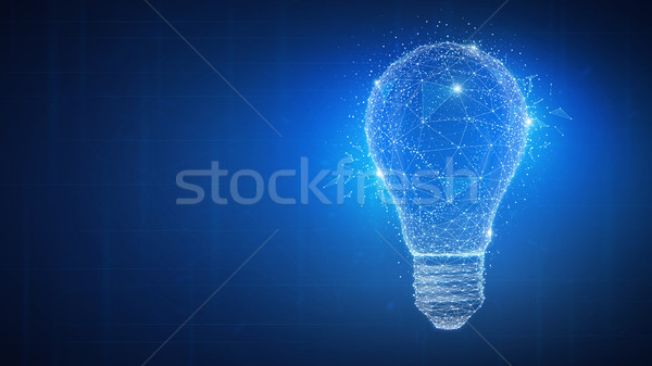 Polygon idea light bulb on blockchain hud banner. Stock photo © RAStudio
