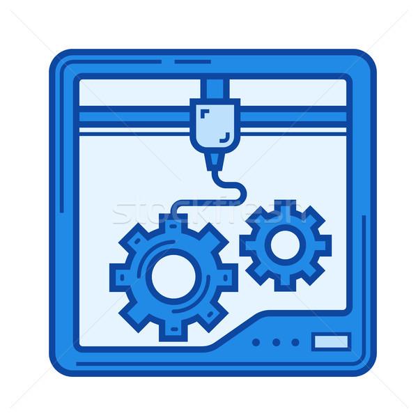 Three D printing line icon. Stock photo © RAStudio