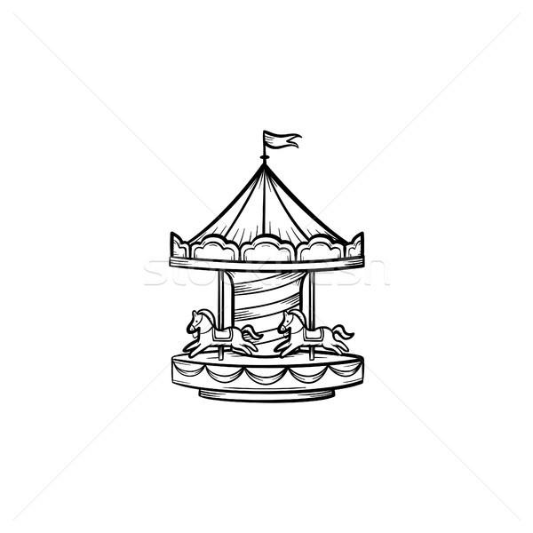 Stock photo: Merry-go-round hand drawn sketch icon.