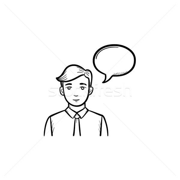 Conferencia orador dibujado a mano boceto icono bocadillo Foto stock © RAStudio