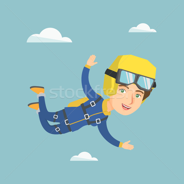 Caucasian parachutist jumping with a parachute. Stock photo © RAStudio
