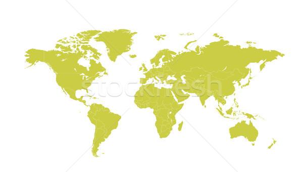 Politico mappa del mondo vettore cartoon illustrazione verde Foto d'archivio © RAStudio