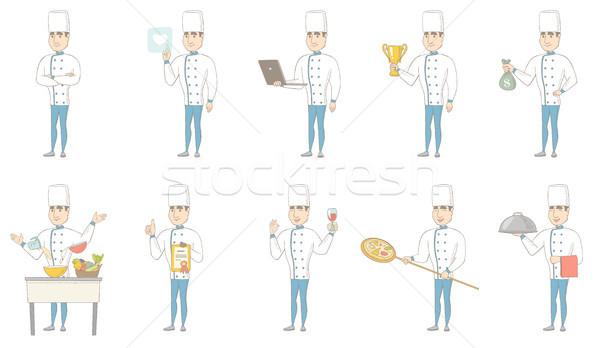 Stock fotó: Fiatal · kaukázusi · szakács · vektor · illusztrációk · szett