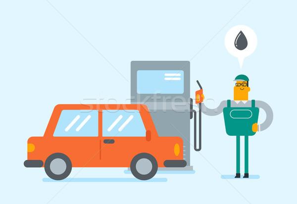 Biały stacji benzynowej pracownika samochodu Zdjęcia stock © RAStudio