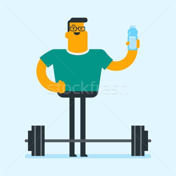 Caucasian white man drinking water in the gym. Stock photo © RAStudio