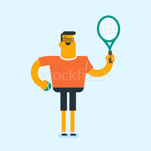 Kaukázusi fehér teniszező teniszütő mosolyog tart Stock fotó © RAStudio