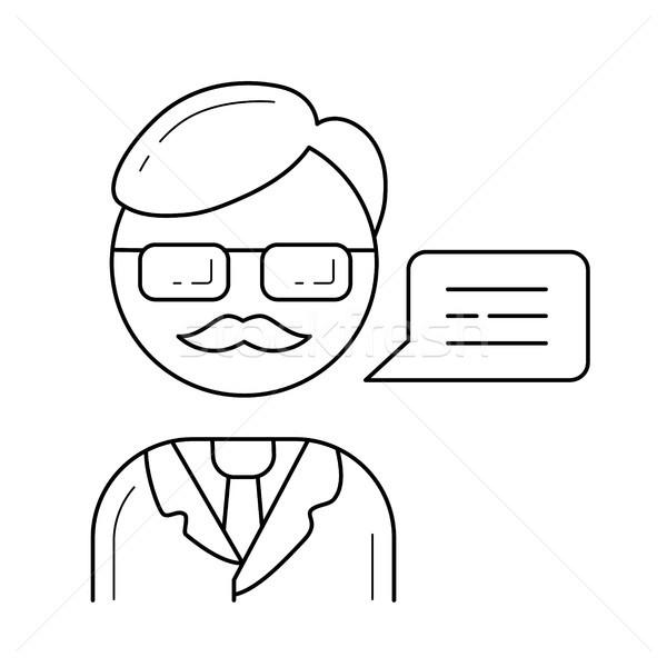 профессор вектора линия икона изолированный белый Сток-фото © RAStudio