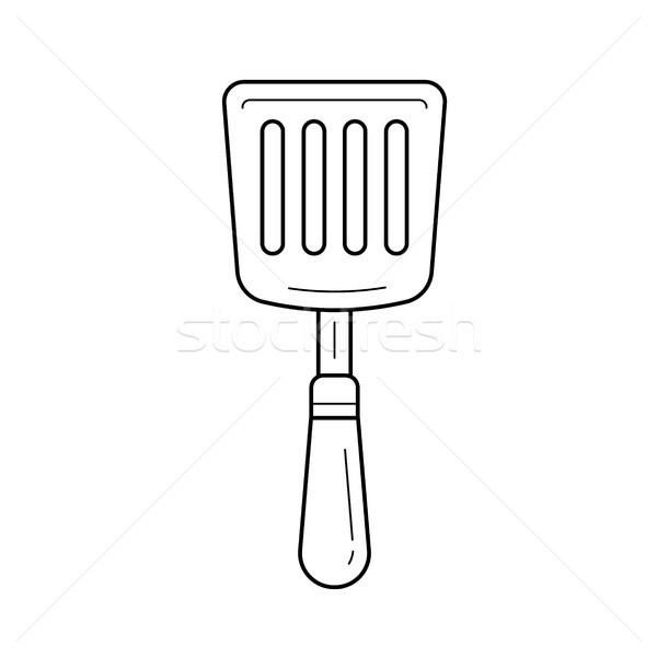 Cuisine spatule vecteur ligne icône isolé Photo stock © RAStudio