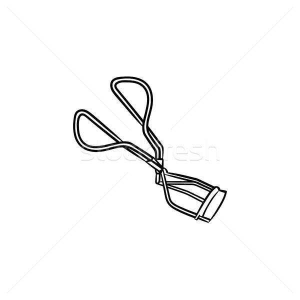 Szempilla kézzel rajzolt rajz ikon skicc firka Stock fotó © RAStudio