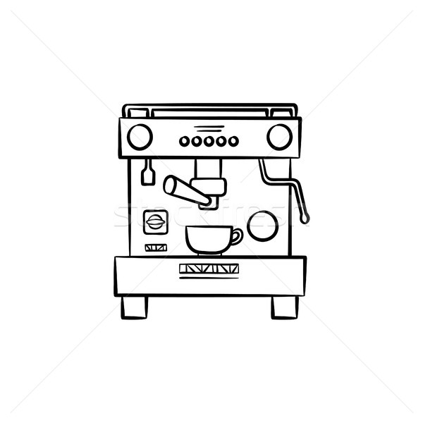 Koffiezetapparaat beker schets icon schets Stockfoto © RAStudio