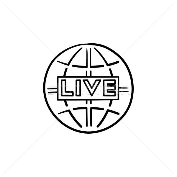 Vivere tv contorno doodle icona Foto d'archivio © RAStudio