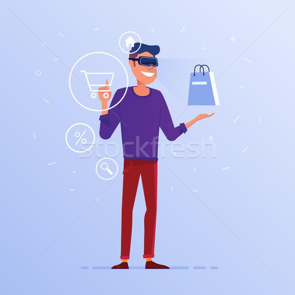 ストックフォト: 白人 · 男 · ヘッド · オンラインショッピング · 白人 · バーチャル