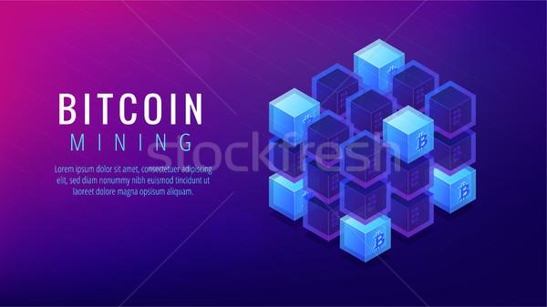 Isometric bitcoin mining farm landing page concept. Stock photo © RAStudio