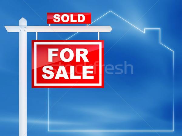 Imzalamak satış gayrimenkul ev ev kırmızı Stok fotoğraf © RAStudio
